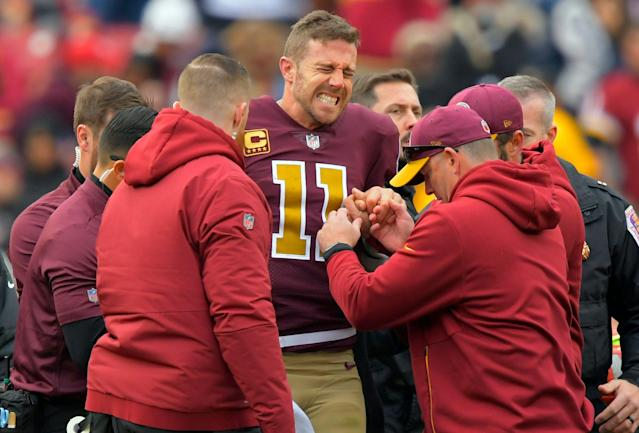 Alex Smith's leg injury left Washington in a desperate quarterback situation. (Getty)