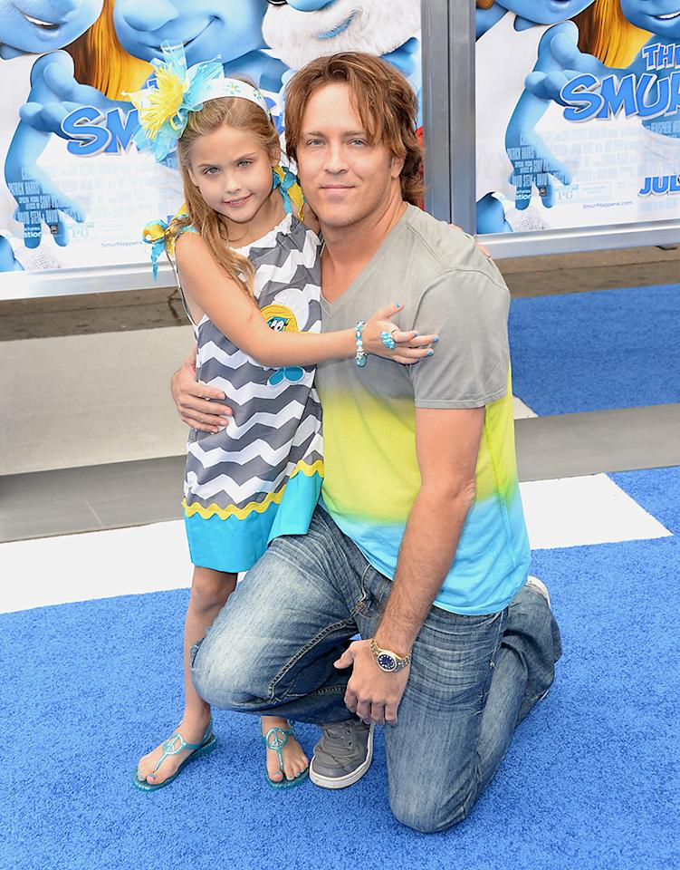 "WESTWOOD, CA - JULY 28:  Larry Birkhead and Dannielynn Marshall attend the premiere of Columbia Pictures' ""Smurfs 2"" at Regency Village Theatre on July 28, 2013 in Westwood, California.  (Photo by Jason Merritt/Getty Images)"
