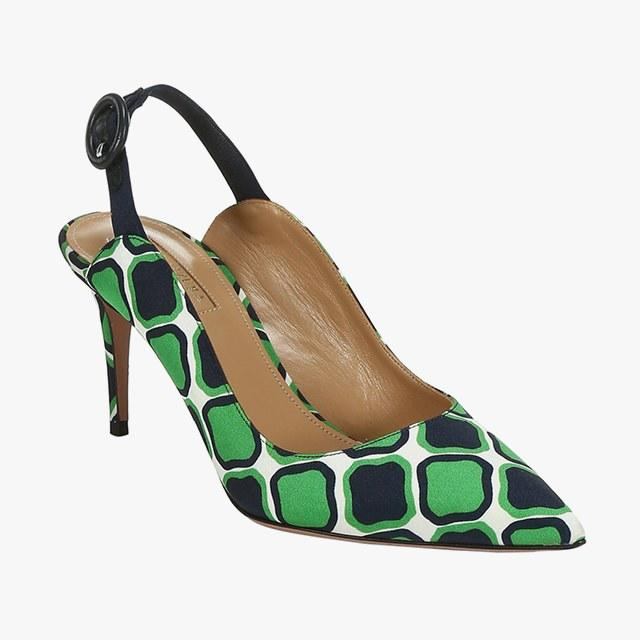 Aquazzura graphic-print slingbacks, $750, saks.com