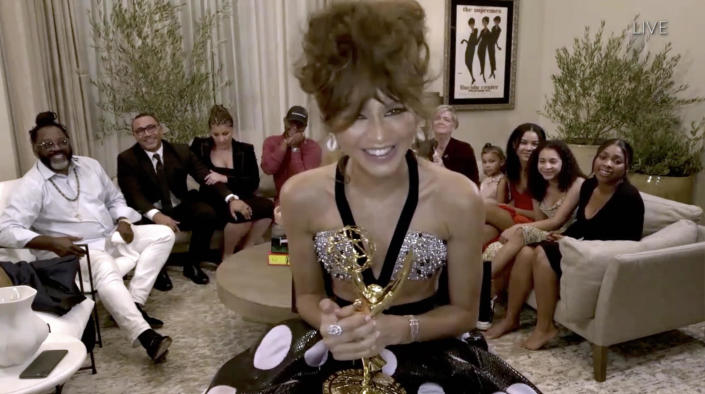 Zendaya celebrates her award for outstanding lead actress in a drama series for her role in