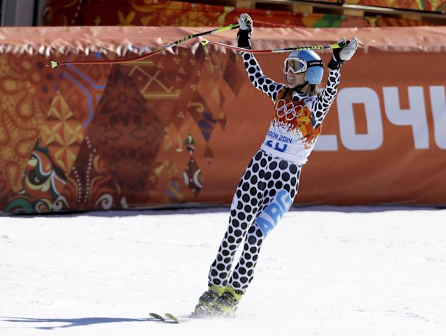 Argentina's Macarena Simari Birkner arrives in the finish area after the women's downhill at the Sochi 2014 Winter Olympics, Wednesday, Feb. 12, 2014, in Krasnaya Polyana, Russia. (AP Photo/Kirsty Wigglesworth)