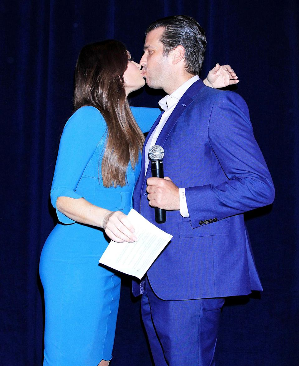 Photo by: Raoul Gatchalian/STAR MAX/IPx 2018 9/27/18 Donald Trump Jr. and Kimberly Guilfoyle at a reception in honor of Danny Tarkanian in Las Vegas, Nevada.