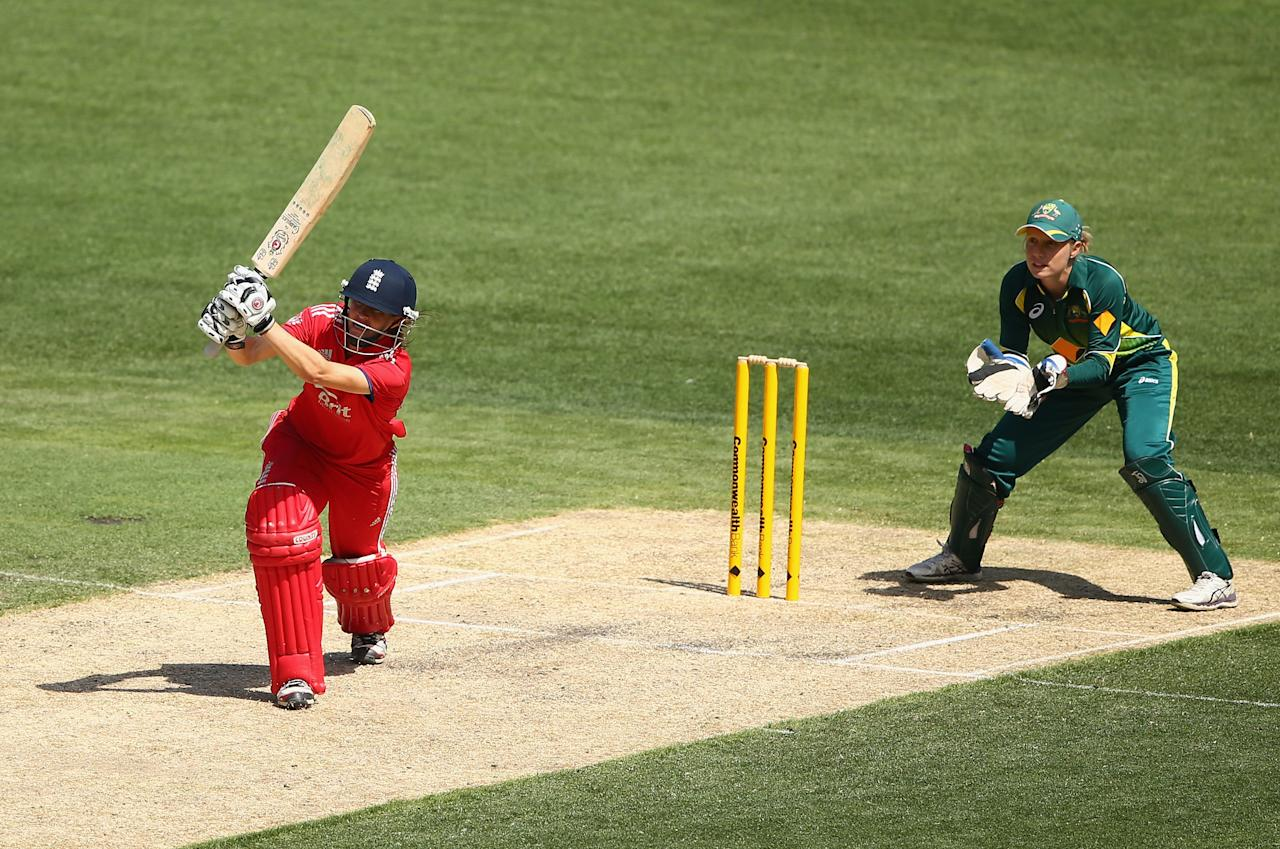 MELBOURNE, AUSTRALIA - JANUARY 19:  Lydia Greenway of England bats during game one of the women's One Day International Series between Australia and England at the Melbourne Cricket Ground on January 19, 2014 in Melbourne, Australia.  (Photo by Robert Cianflone/Getty Images)