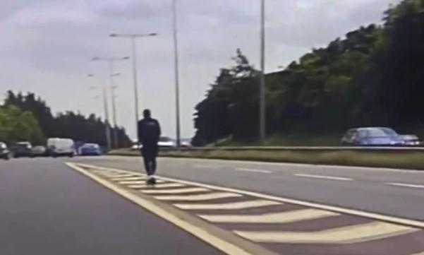 West Yorkshire Police released footage showing the man heading towards the M606 in Bradford. (Police)