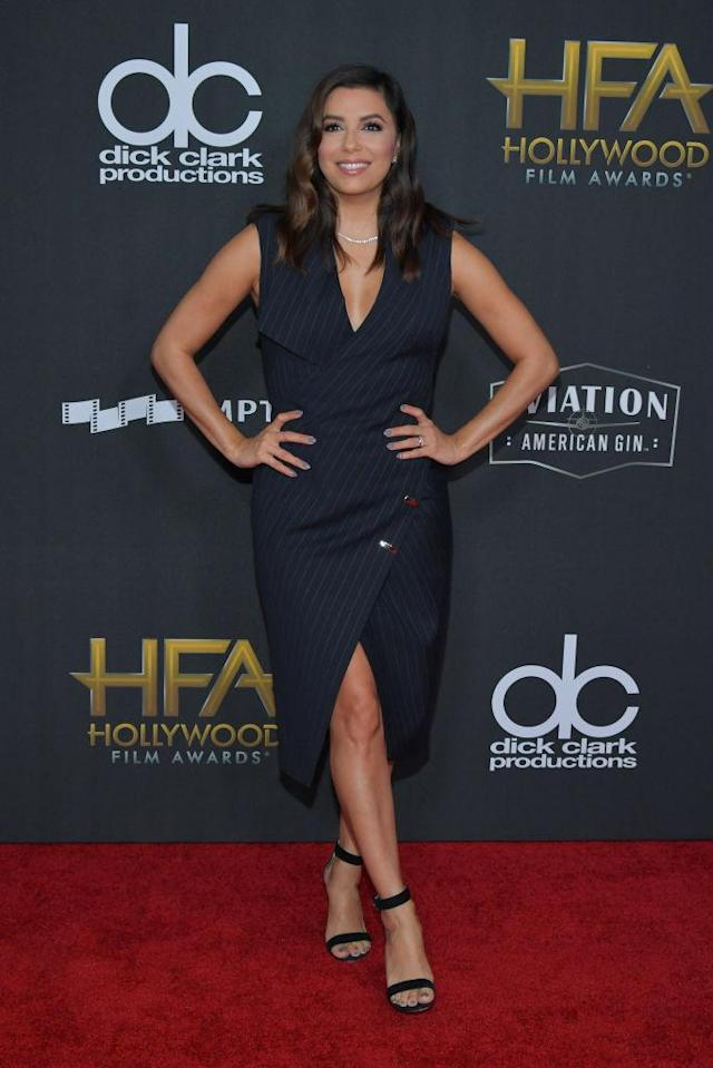 <p>The actress posed gracefully in a sleeveless dress inspired by the double breasted trend. (Photo: Getty Images) </p>