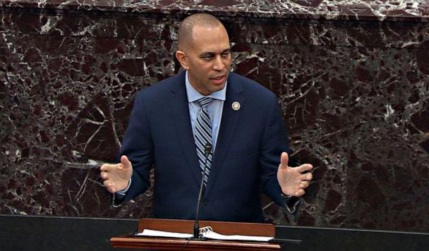 PHOTO: In this screengrab, House manager Rep. Hakeem Jeffries speaks during impeachment proceedings against President Donald Trump in the Senate at the U.S. Capitol on Jan. 31, 2020, in Washington. (ABC News )