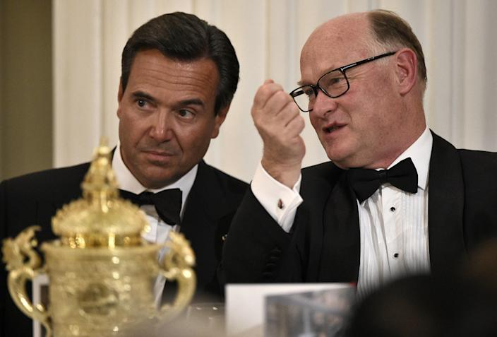 Lloyds CEO António Horta-Osório (L) speaks with group chairman of HSBC Douglas Flint. Photo: Leon Neal/AFP via Getty Images