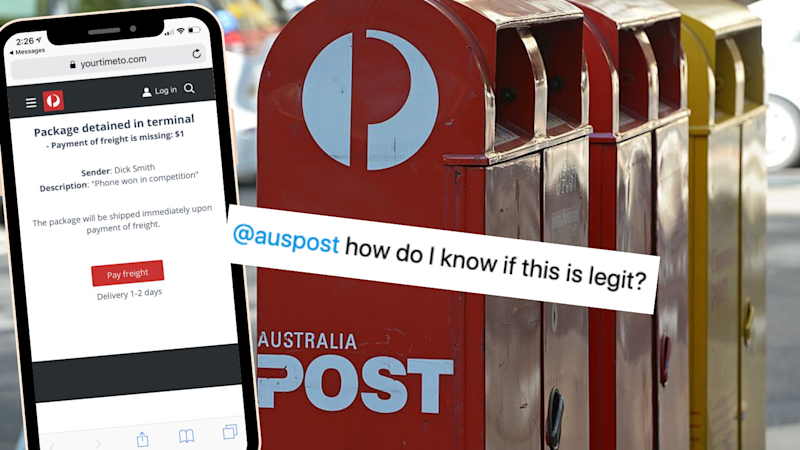 Australians have received scam texts that appear as though they have been sent by Australia Post. (Source: Twitter, Getty)
