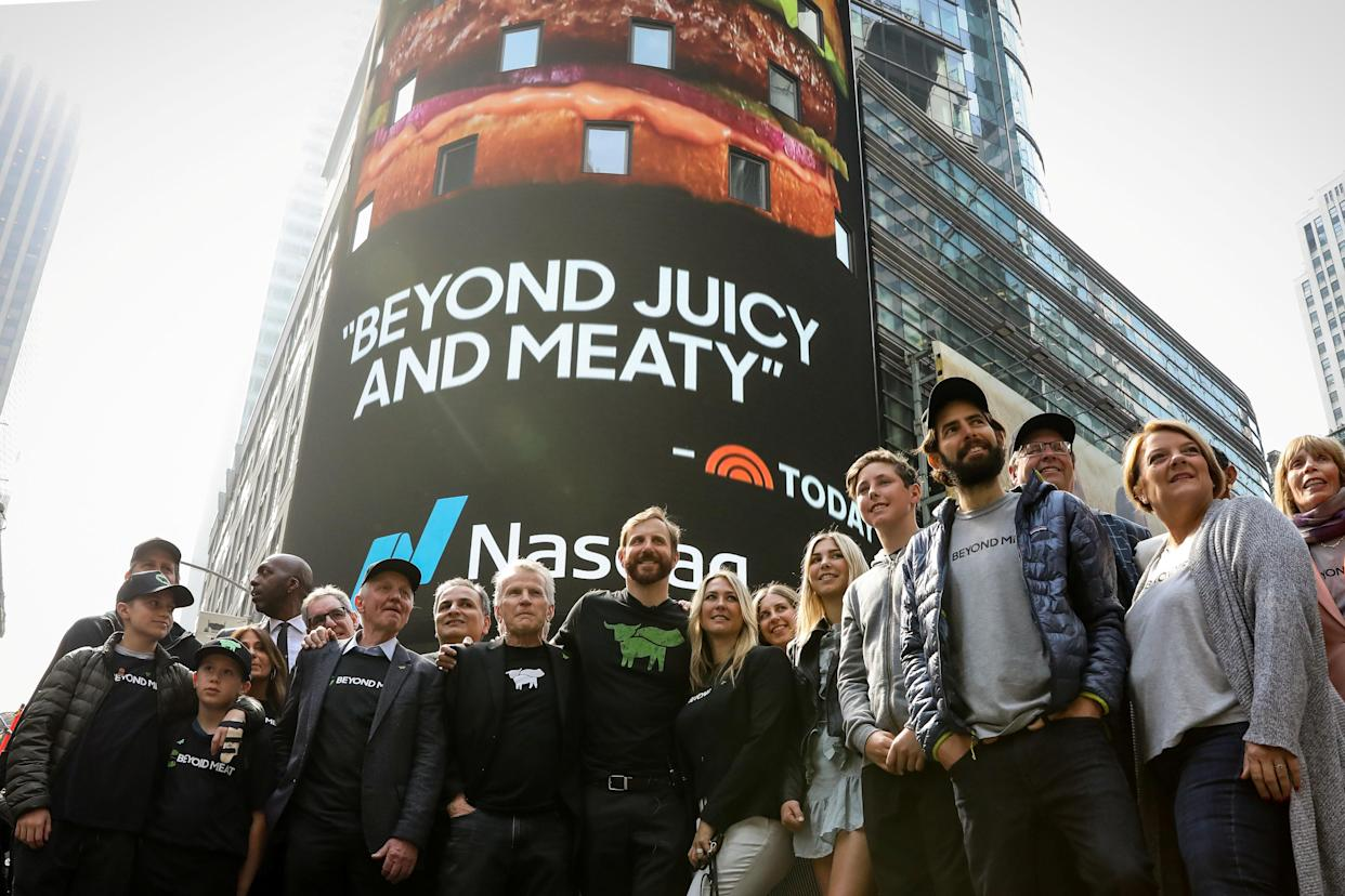 Ethan Brown, founder and CEO of Beyond Meat, poses with company executives and guests during the company's IPO at the Nasdaq Market site in New York, U.S., May 2, 2019. REUTERS/Brendan McDermid