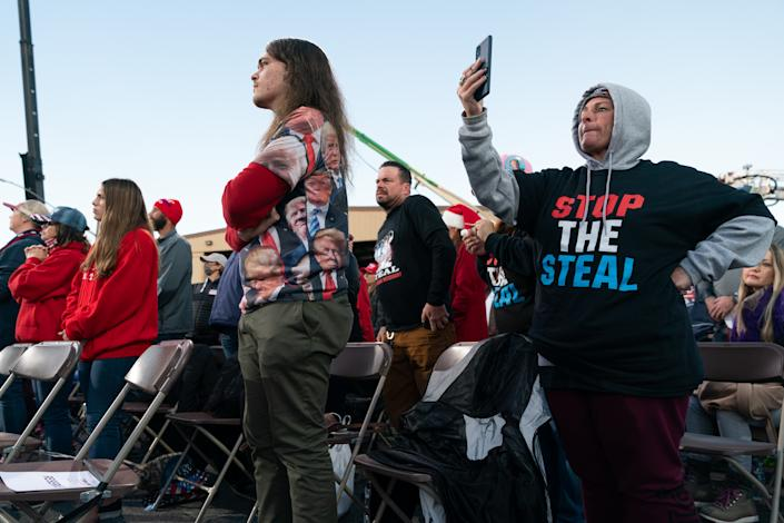 Attendees gather during a rally with President Trump in Valdosta, Georgia, U.S., on Saturday, Dec. 5, 2020. (Photographer: Elijah Nouvelage/Bloomberg via Getty Images)