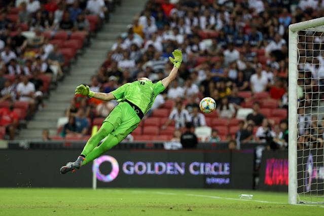 Juventus keeper Wojciech Szczesny beaten by Harry Kane's long-range strike. (Photo by Tottenham Hotspur FC/Tottenham Hotspur FC via Getty Images)