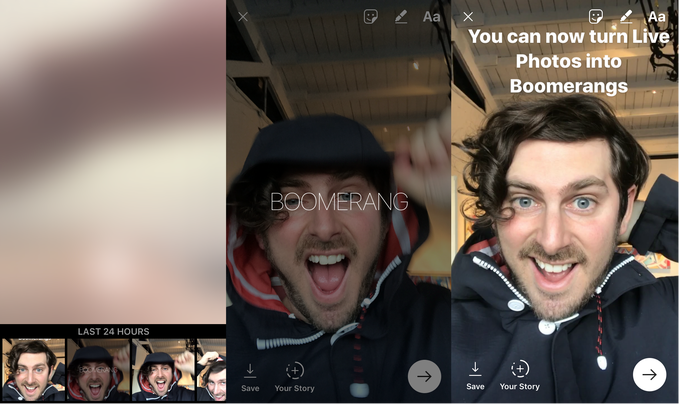 To turn a Live Photo into a Boomerang, open Instagram Stories, swipe up, select a Live Photo, 3D touch on the full-screen preview, and it will be converted into a Boomerang