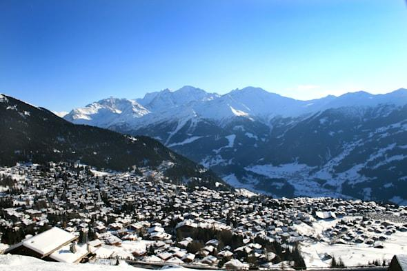 view over the town of verbier ...