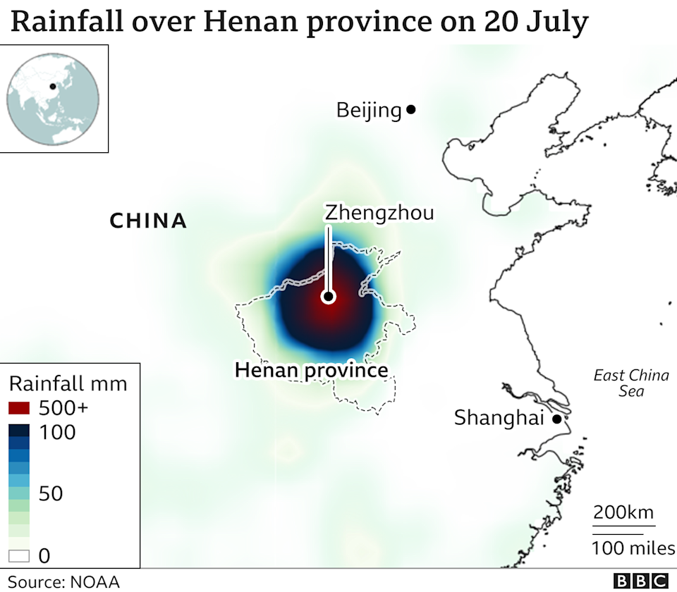 Map showing the levels of rainfall that led to the flooding
