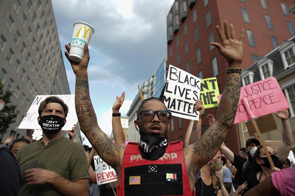 Protests over the death of George Floyd, an unarmed black man who died last month after being pinned down by a white police officer in Minneapolis, continue on the sixth consecutive day in Washington, DC, on June 3, 2020. (Photo by Yasin Ozturk/Anadolu Agency via Getty Images)
