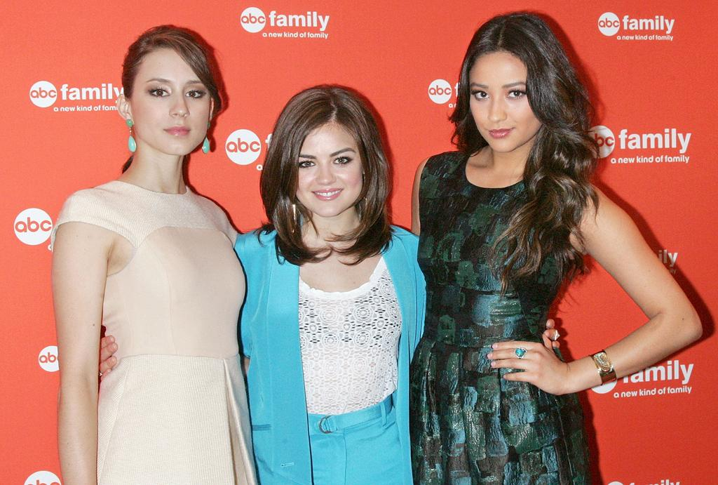 "Troian Bellisario, Lucy Hale, and Shay Mitchell (""<a href=""http://tv.yahoo.com/pretty-little-liars/show/39256"">Pretty Little Liar</a><a>s</a>"") attend ABC Family's 2012 Upfront Presentation at the Mandarin Oriental Hotel on March 19, 2012 in New York City."
