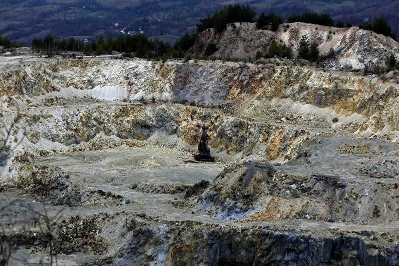 A general view of an old quarry is seen near Rosia Montana, central Romania