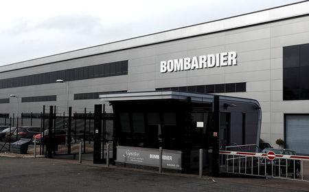 Bombardier's logo is seen on the building of the company's service centre at Biggin Hill, Britain March 5, 2018.  REUTERS/Peter Nicholls