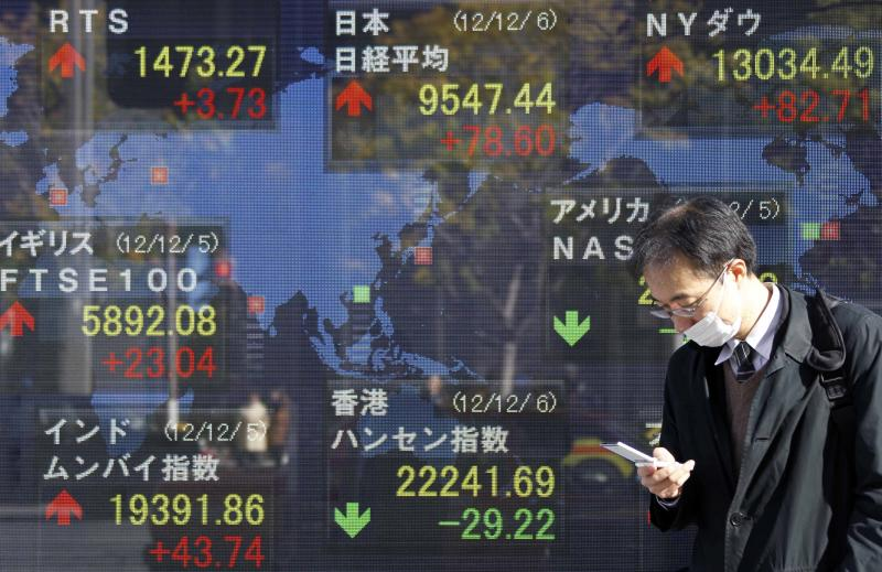 "A man checks his mobile phone in front of an electronic stock board of a securities firm in Tokyo Thursday, Dec. 6, 2012 as Japan's Nikkei 225 index, top center, rose 78.60 points to 9,547.44.  Asian stock markets remained in a holding pattern Thursday as investors assessed President Barack Obama's comments that reaching a budget deal to prevent the U.S. from a possible recession was ""not that tough"" and could even be done quickly. (AP Photo/Koji Sasahara)"