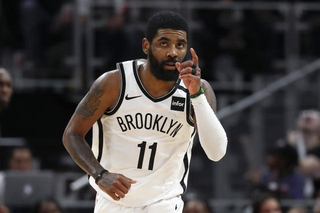 Kyrie Irving's maligned season in Brooklyn hit a high note on Saturday. (AP Photo/Paul Sancya)