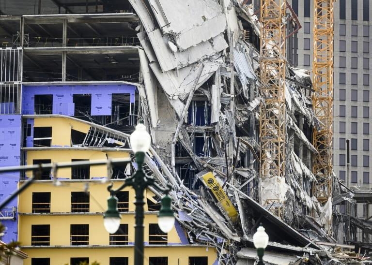 The Hard Rock Hotel in downtown New Orleans, which was under construction, partially collapsed on October 12 (AFP Photo/Emily Kask)