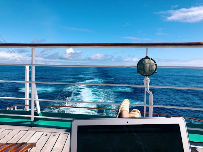Semester at Sea, feet up on the deck