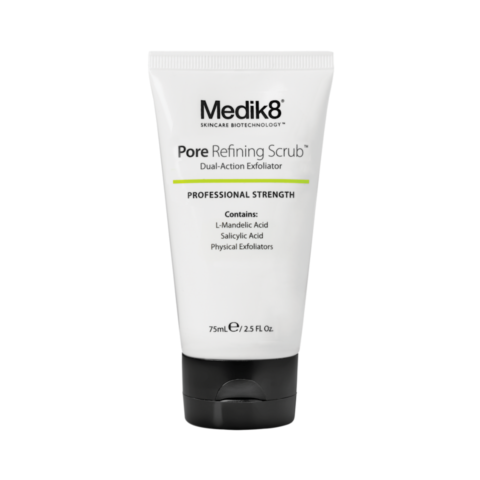 """<p><a rel=""""nofollow"""" href=""""https://www.medik8.com/daily-scrub-pore-refining-mandelic-salicylic-acid-exfoliating.html"""">Medik8</a> - £29</p><p>Medik8's Pore Refining Scrub delivers a three-pronged attack on rough and oily skin. It boasts gentle, biodegradable jojoba particles to really slough away that paste-like mixture of sebum, dead cells and make-up, Salicylic acid, which reduces inflammation, pigmentation and redness caused by acne, and L-Mandelic acid, an AHA that deeply penetrates the pores to exfoliate even further. A pea-sized amount goes a really long way.</p>"""
