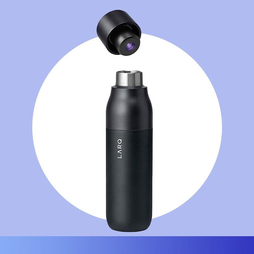 """<p><strong>LARQ</strong></p><p>amazon.com</p><p><strong>$95.00</strong></p><p><a href=""""https://www.amazon.com/LARQ-Bottle-Self-Cleaning-Purification-Obsidian/dp/B07YGYKWVQ/ref?tag=syn-yahoo-20&ascsubtag=%5Bartid%7C2089.g.376%5Bsrc%7Cyahoo-us"""" rel=""""nofollow noopener"""" target=""""_blank"""" data-ylk=""""slk:Shop Now"""" class=""""link rapid-noclick-resp"""">Shop Now</a></p><p>Frequent travelers know that keeping a water bottle on hand is always a smart move, but finding a good spot to fill up with filtered H2O while in transit can be tricky. </p><p>This USB-rechargeable water bottle from LARQ is not only insulated, but it uses an internal UV-C LED light that activates every 2 hours to purify the water and eliminate up to 99.99% of contaminants.</p>"""