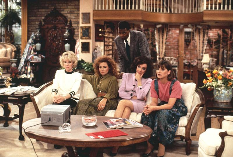 Allison Sugarbaker (Julia Duffy), Mary Jo Shivley (Annie Potts), Julia Sugarbaker (Dixie Carter), Carlene Frazier-Dobber (Jan Hooks), and Anthony Bouvier (Meshach Taylor) on Designing Women