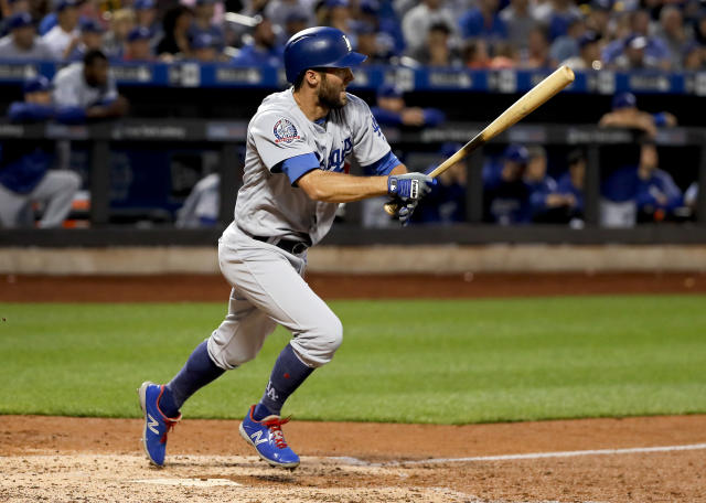 Los Angeles Dodgers pinch-hitter Chris Taylor (3) breaks for first base on an RBI-double to right field against the New York Mets during the fourth inning of a baseball game, Saturday, June 23, 2018, in New York. Two runs scored on the play. (AP Photo/Julie Jacobson)