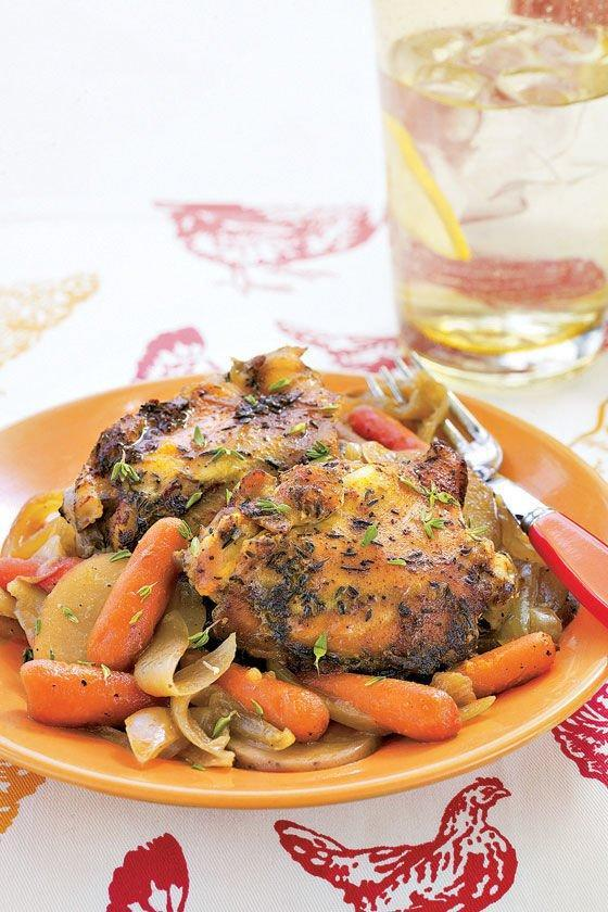 """<p><strong>Recipe: <a href=""""https://www.southernliving.com/recipes/crockpot-chicken-thighs-carrots-potatoes"""" rel=""""nofollow noopener"""" target=""""_blank"""" data-ylk=""""slk:Chicken Thighs with Carrots and Potatoes"""" class=""""link rapid-noclick-resp"""">Chicken Thighs with Carrots and Potatoes</a></strong></p> <p>All you need is 20 minutes to get this dish in the slow cooker, then you have a hearty chicken and veggie supper waiting for you when you get home.</p>"""