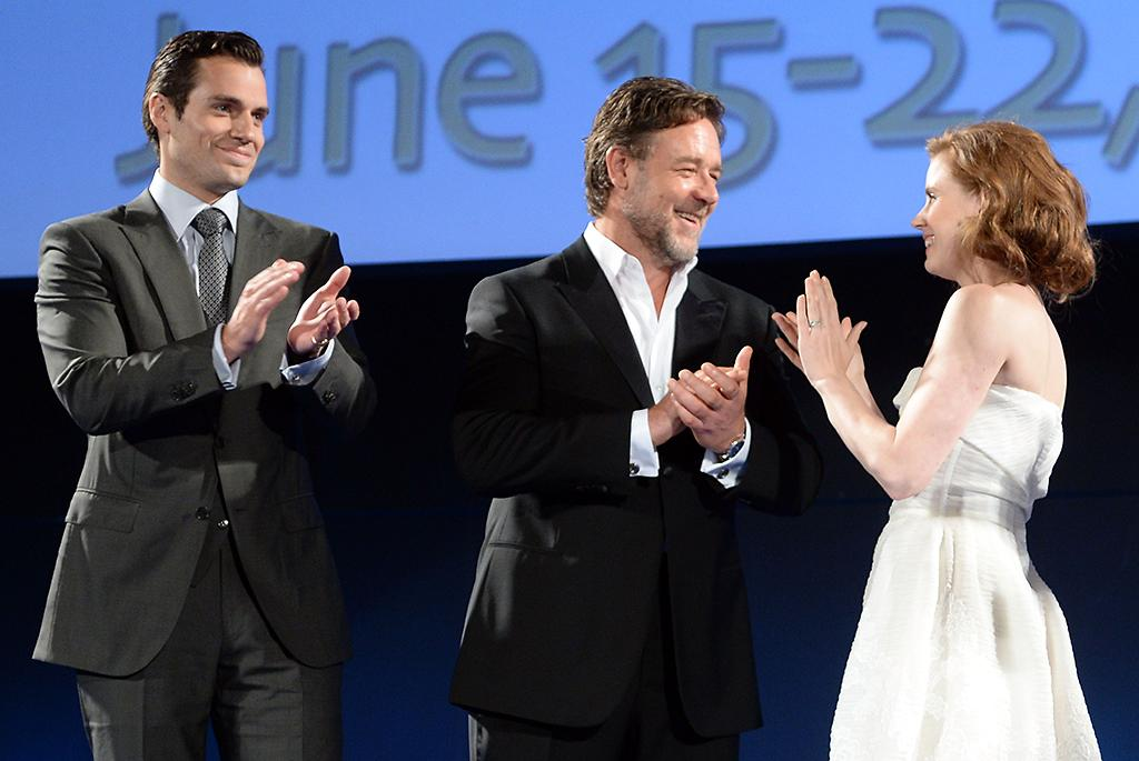 TAORMINA, ITALY - JUNE 15:  Henry Cavill, Russell Crowe and Amy Adams attend Opening Ceremony and 'Man of Steel Premiere' during the Taormina Filmfest 2013 at Teatro Antico on June 15, 2013 in Taormina, Italy.  (Photo by Venturelli/Getty Images)
