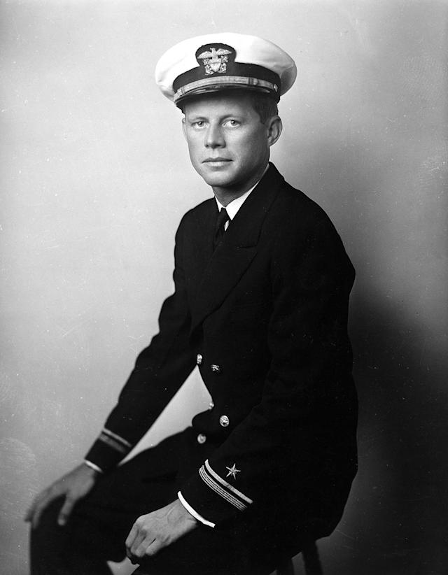 <p>Navy Lt. j.g. John F. Kennedy poses for a portrait in 1942.<br> (Photo: John F. Kennedy Presidential Library and Museum) </p>