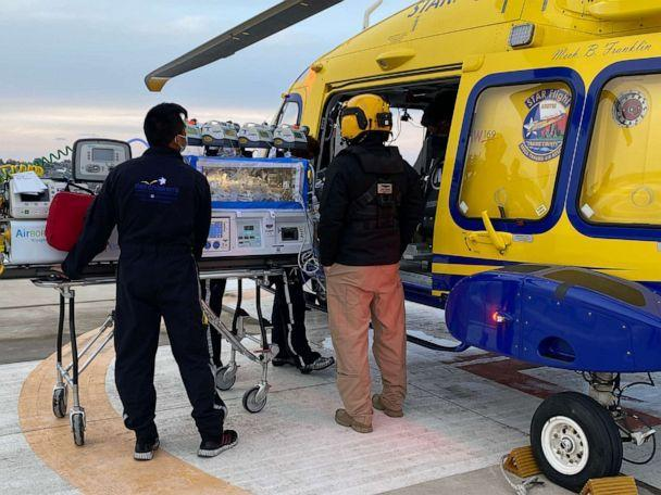 PHOTO: Healthcare providers transfer baby Zaylynn onto a medical helicopter. (Baylor Scott & White)
