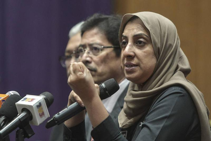 MACC chief commissioner Latheefa Koya speaks during the press conference in Putrajaya, October 18, 2019. ― Picture by Shafwan Zaidon