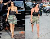 <p><strong>When: Aug. 1, 2017</strong><br>Kim Kardashian went out shopping with her supermodel sister Kendall Jenner, and left <em>very</em> little to the imagination. Kim ditched the bra and slipped on a form-fitting see-through black bodysuit that profiled her tiny waist and paired it with a pair of high-rise camouflage cargo shorts cut off just above her knee. (<em>Photo: Getty</em>) </p>
