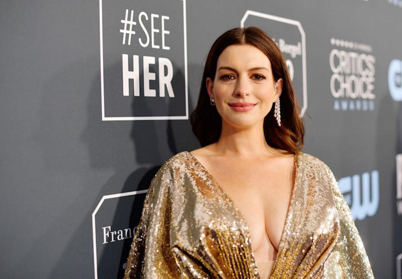 Anne Hathaway is a late entrant to the pillow challenge, pictured here at the Critics' Choice Awards Januaray 2020 (Getty Images)