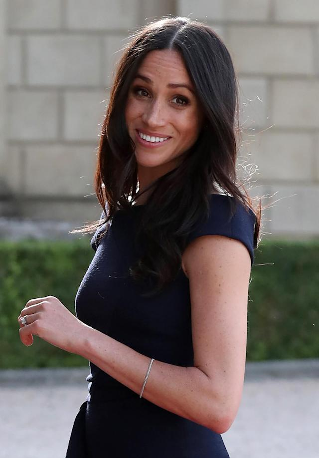 <p>The day before her May 19 nuptials, Meghan arrived at Cliveden House hotel in the village of Taplow with relaxed waves. (Photo: Getty Images) </p>