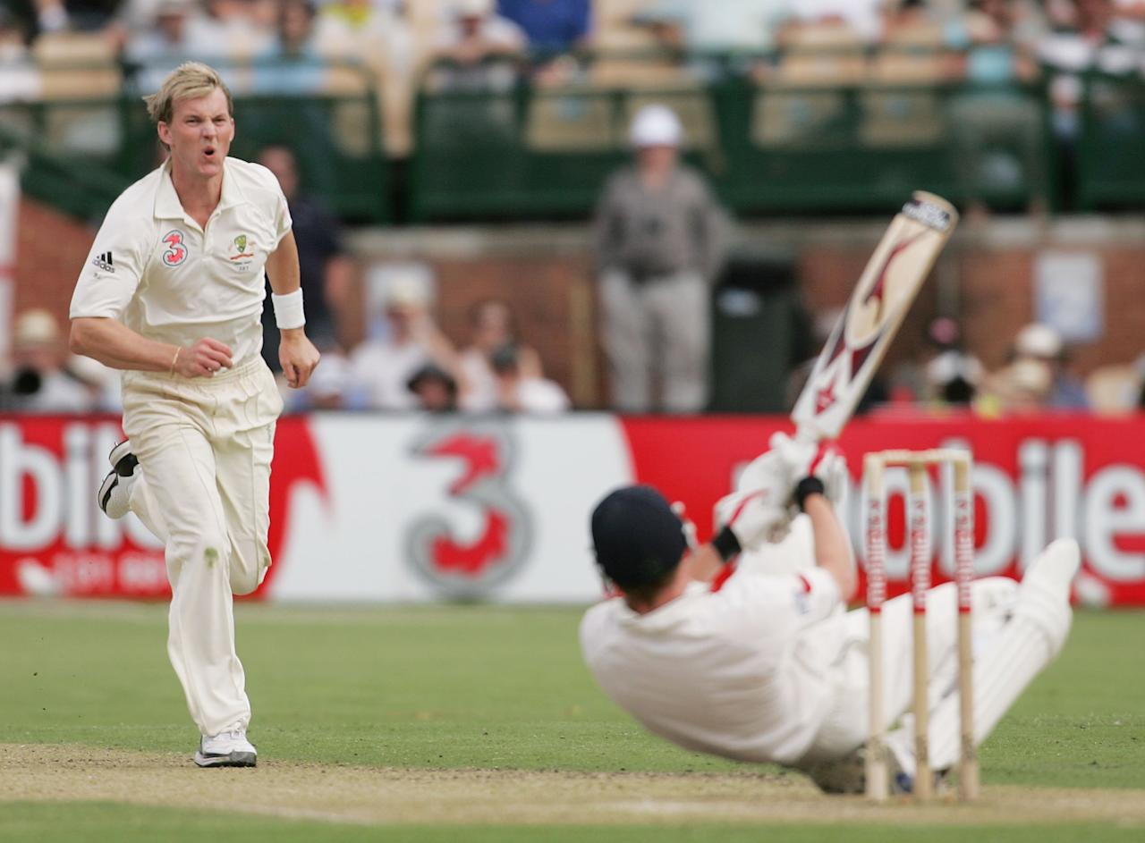 ADELAIDE, AUSTRALIA - DECEMBER 01:  Brett Lee of Australia reacts after flooring Paul Collingwood of England with a short-pitched delivery during day one of the second Ashes Test Match between Australia and England at the Adelaide Oval on December 1, 2006 in Adelaide, Australia.  (Photo by Mark Dadswell/Getty Images)