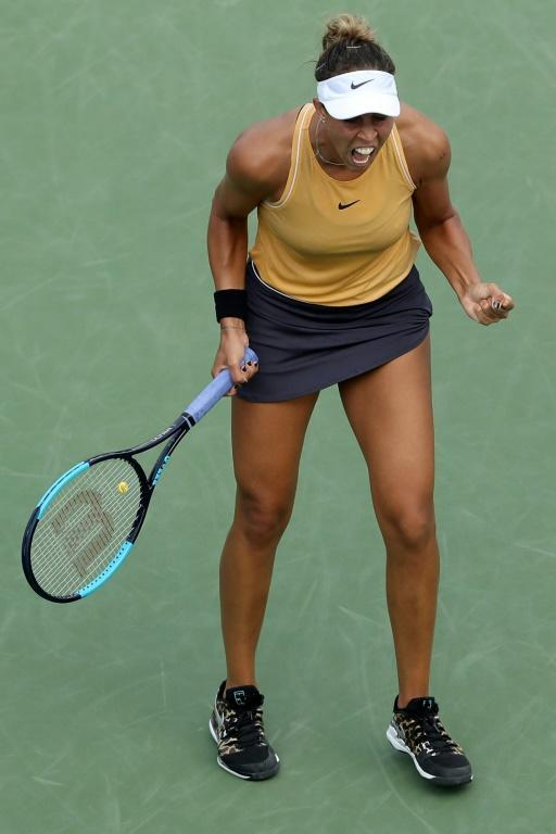 Feeling great: American Madison Keys celebrates match point in her semi-final win over compatriot Sofia Kenin in the WTA event in Cincinnati (AFP Photo/Rob Carr)