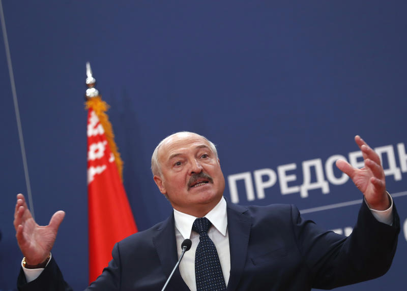 Belarus President Alexander Lukashenko speaks during a press conference after talks with his Serbian counterpart Aleksandar Vucic at the Serbia Palace in Belgrade, Serbia, Tuesday, Dec. 3, 2019. Lukashenko is on a two-day official visit to Serbia. (AP Photo/Darko Vojinovic)