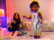 """<p>Kardashian and her daughter True Thompson threw the <a href=""""https://www.instagram.com/p/CJfWxuIBAz4/"""" rel=""""nofollow noopener"""" target=""""_blank"""" data-ylk=""""slk:&quot;best party in town&quot;"""" class=""""link rapid-noclick-resp"""">""""best party in town""""</a> at home in matching silver dresses.</p>"""
