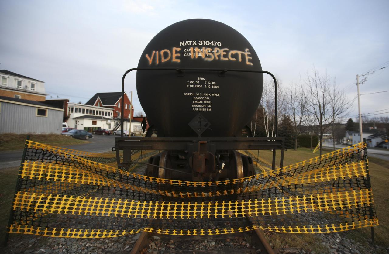 "A tanker with an inscription which reads, ""empty and inspected"", is pictured on the rail track in Lac-Megantic, November 21, 2013. The Canadian government allocated C$95 million ($90 million) on Thursday to help clean up contamination caused by the disastrous derailment in July of a train carrying crude oil through the small Quebec town of Lac-Megantic. REUTERS/Mathieu Belanger (CANADA - Tags: POLITICS TRANSPORT ENERGY DISASTER)"