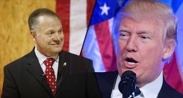 Roy Moore and President Trump (Photo illustration: Yahoo News; photos: Brynn Anderson/AP, Mandel Ngan/AFP/Getty Images)