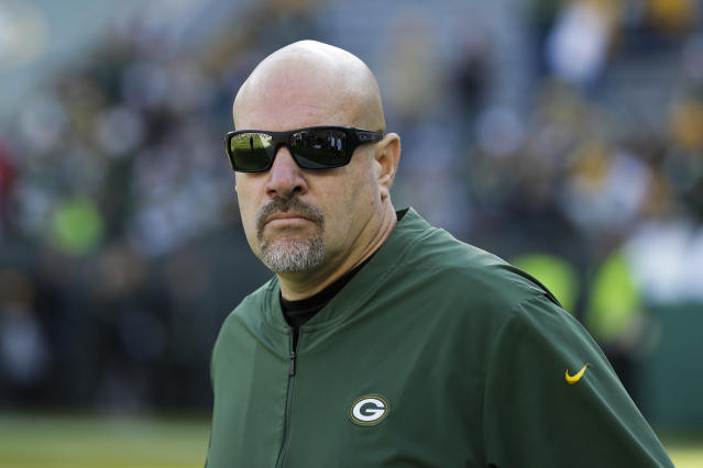 FILE - This Oct. 20, 2019 file photo shows Green Bay Packers defensive coordinator Mike Pettine before an NFL football game against the Oakland Raiders in Green Bay, Wis. Pettine believes his teams run defense is much better than the way it played in its most recent game. When things are right, when things are clicking for us and guys have a good understanding of what theyre doing, we can stop the run as well as anybody else, Pettine said Friday, May 22, 2020 during a Zoom session with reporters.(AP Photo/Mike Roemer, File)