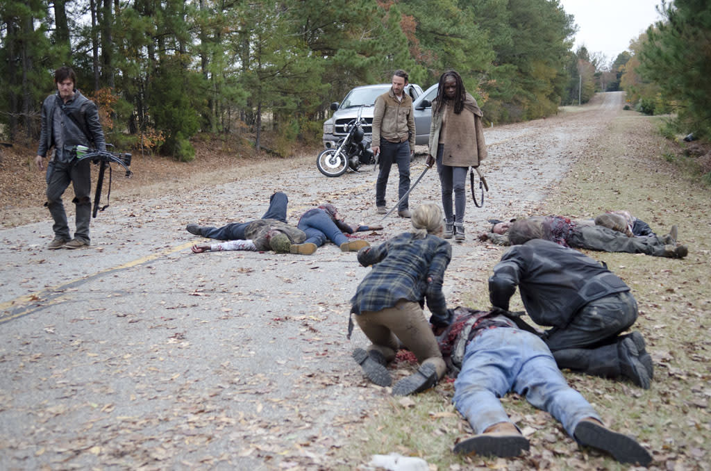 "Daryl Dixon (Norman Reedus), Rick Grimes (Andrew Lincoln) and Michonne (Danai Gurira) in ""The Walking Dead"" Season 3 Finale, ""Welcome to the Tombs."""