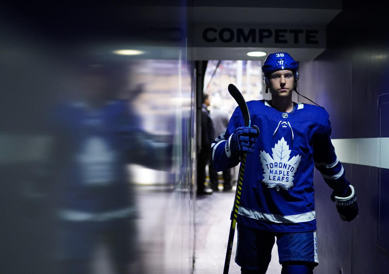 TORONTO, ON - OCTOBER 5: Rasmus Sandin #38 of the Toronto Maple Leafs walks to the dressing room before playing the Montreal Canadiens at the Scotiabank Arena on October 5, 2019 in Toronto, Ontario, Canada. (Photo by Mark Blinch/NHLI via Getty Images)