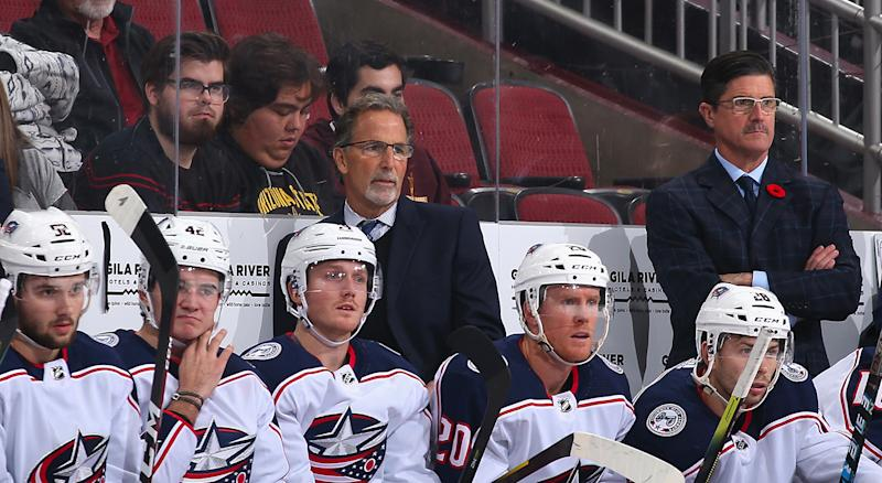 GLENDALE, ARIZONA - NOVEMBER 07: Head coach John Tortorella of the Columbus Blue Jackets watches from the bench during the first period of the NHL game against the Arizona Coyotes at Gila River Arena on November 07, 2019 in Glendale, Arizona. (Photo by Christian Petersen/Getty Images)