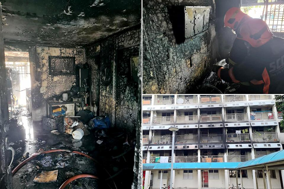 Pictures of the damage done by the fire at Block 22 Jalan Tenteram. (PHOTOS: SCDF)