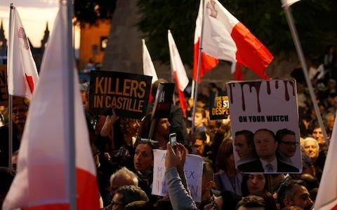 A national protest in Valletta calling for prime minister Joseph Muscat to resign immediately - Credit: Darrin Zammit Lupi/Reuters